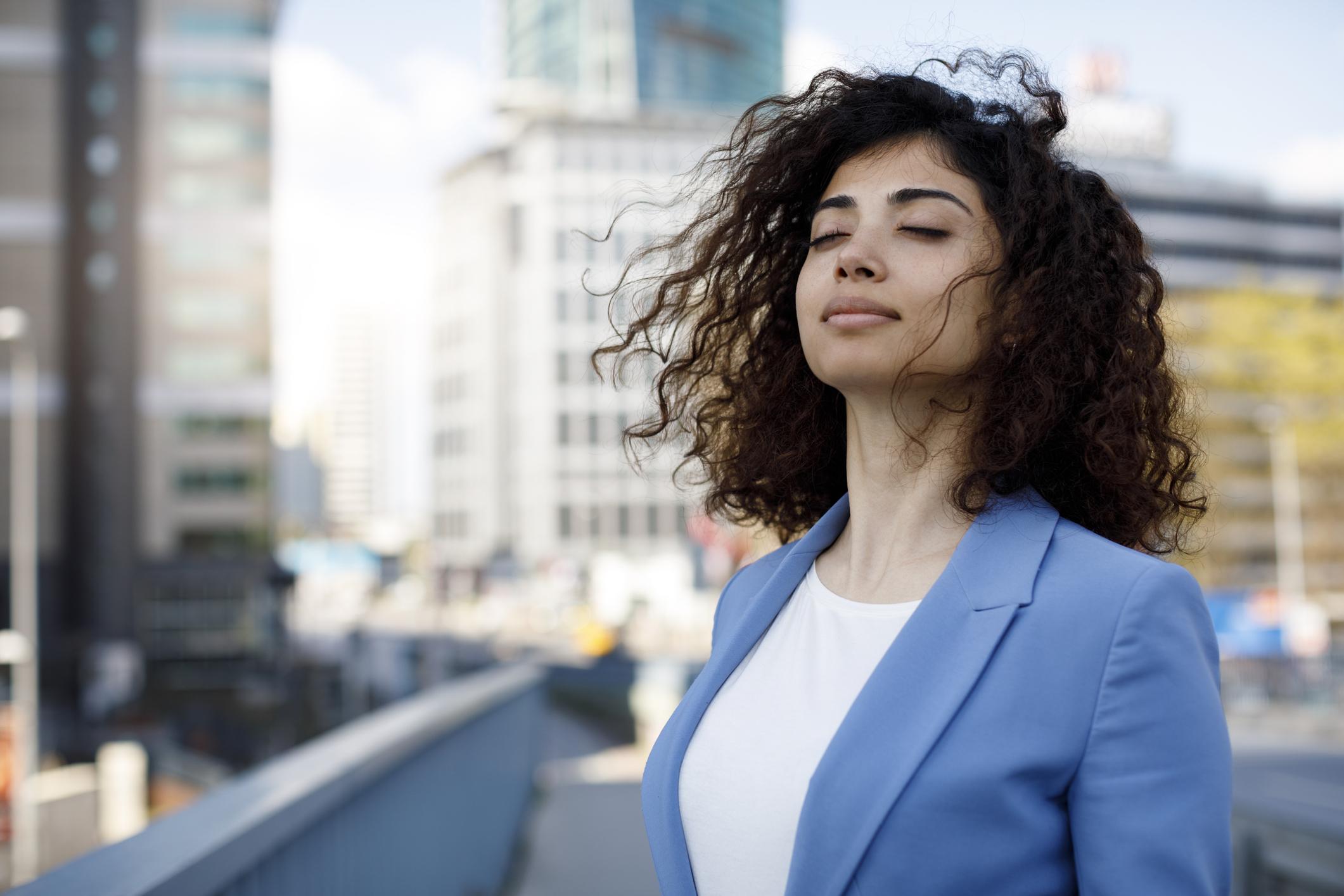 Businesswoman relaxing outdoor